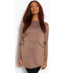 zwangerschaps gebreide borstvoeding trui met gestrikte zijkant, kameel