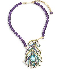 beaded crystal feather pendant necklace