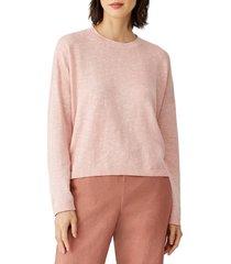 women's eileen fisher organic linen & cotton crewneck box sweater, size large - pink