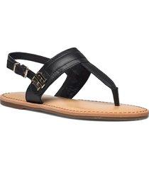 hardware th flat leather sandal shoes summer shoes flat sandals svart tommy hilfiger