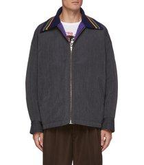 stripe knit collar zip up jacket