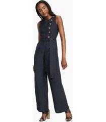 tommy hilfiger women's essential linen jumpsuit navy - 2
