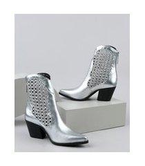 bota feminina oneself country cano curto salto baixo metalizada tressê prateada