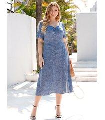 vestido de manga corta con cuello cuadrado y diseño de corte cuadrado azul talla grande