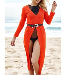 alluring women's plunging neck 3/4 sleeve high slit maxi dress