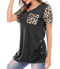 leopard chest pocket buttoned tunic tee