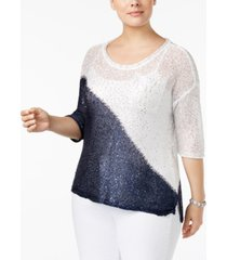 belldini plus size colorblocked sequin-knit sweater