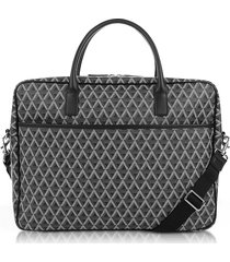 lancaster paris designer briefcases, ikon black coated canvas men's briefcase