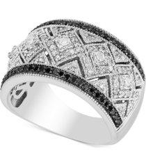 diamond milgrain pattern statement ring (5/8 ct. t.w.) in sterling silver