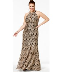 morgan & company trendy plus size metallic lace halter gown