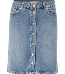 jeanskjol slfrose mw bayside blue denim skirt
