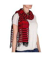 cotton scarf, 'red totonicapan diamonds' (guatemala)