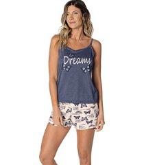 pijama curto shortdoll borboleta demillus 220444 azul marinho