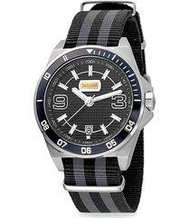 sport stainless steel & nylon-strap watch