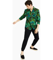 inc international concepts men's regular-fit over-dyed jungle-print poplin shirt, created for macy's
