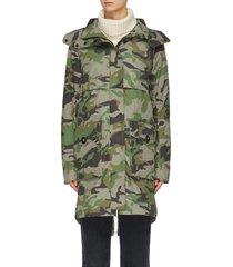 'cavalry' detachable hood camouflage print windproof trench coat