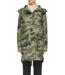 'cavalry' detachable hood camouflage print windproof trench coat