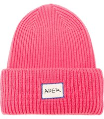ader error ribbed-knit beanie - pink