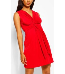 maternity knot front mini dress, red
