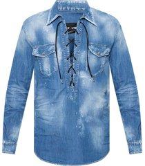 distressed denim shirt