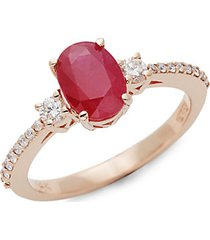 14k rose gold, ruby & white diamond solitaire ring