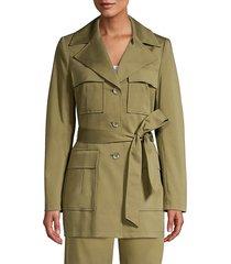 elie tahari women's isla cargo pocket jacket - tuscan olive - size 10