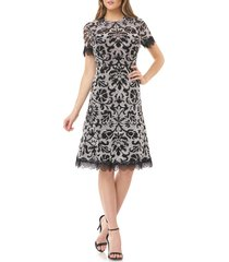 women's js collection embroidered lace scallop trim cocktail dress, size 16 - ivory