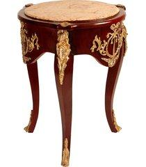 mesa lateral luis xv de madeira e tampo de mármore redondo
