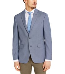 kenneth cole reaction men's slim-fit stretch navy & white tic sport coat, created for macy's