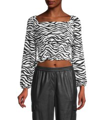 bcbgeneration women's zebra-print smocked cropped top - size m