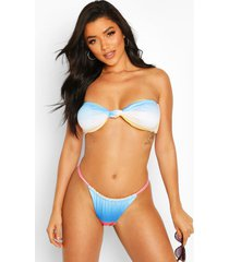 ombre twist knotted bandeau string high leg bikini, blue