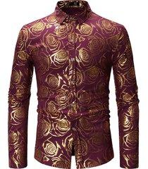 abito da uomo casual con vestibilità aderente silm a manica lunga in stampa dorata rosa da uomo camicia
