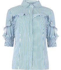 blouse met ruches eda  blauw