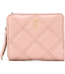marc jacobs the quilted softshot mini compact wallet - neutrals