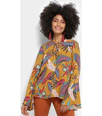 blusa cantão manga longa folhagem local camille feminina