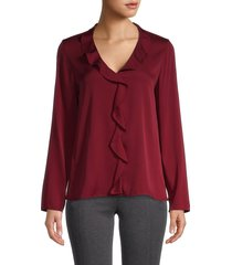 theory women's front ruffle blouse - currant - size l