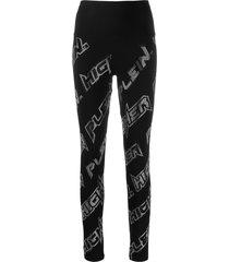 philipp plein space rhinestone leggings - black