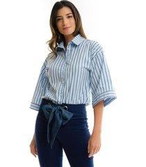 blusa para mujer en popelina multicolor color multicolor talla xxs