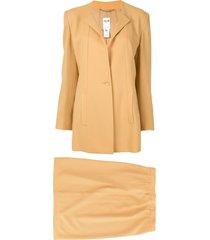 céline pre-owned setup suit jacket skirt - brown