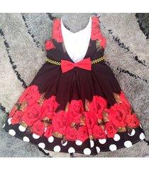 vestido flores patatitas i39 negro