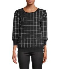 karl lagerfeld paris women's checkered roundneck top - black white - size s