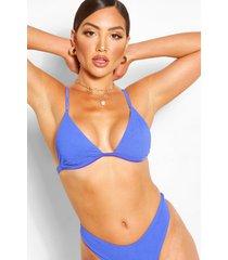 mix match bikinitop met gekreukte spaghettibandjes, blauw