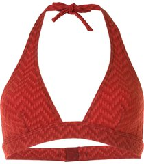 eres zigzag-pattern triangle bikini top - red