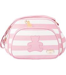 bolsa maternidade pirulitando baby pequena ursinho listrado rosa