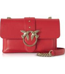pinko designer handbags, red love mini soft simply shoulder bag