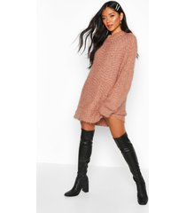oversized premium boucle feather knit dress, toffee