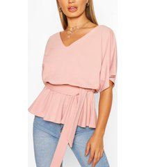 peplum tie belt top, pink