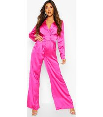 satin tailored jumpsuit, fuchsia
