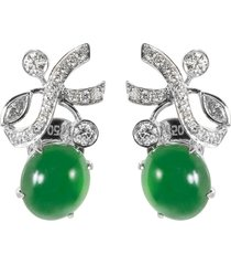diamond jade 18k gold ribbon stud earrings