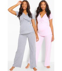 positiekleding. pyjamabroekset in wikkelstijl, lichtroze